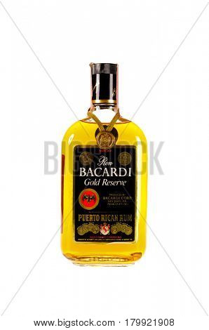 Colbert, WA - April 1, 2017: Bottle of Bacardi Puerto Rican rum isolated on white, illustrative editorial