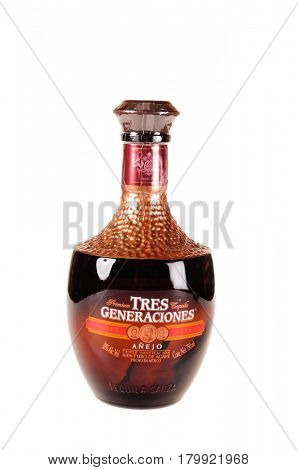 Colbert, WA - April 1, 2017: Bottle of Tres Generaciones Mexican tequila isolated on white, illustrative editorial