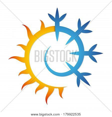 Sun and snowflake for air conditioner silhouette