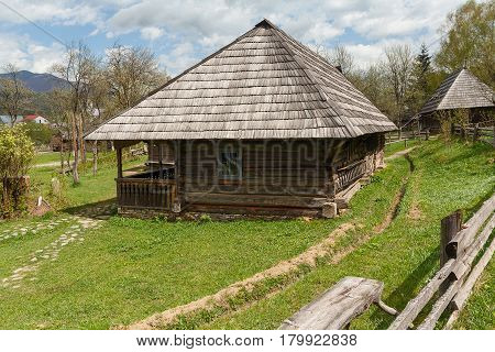 Ancient wooden house Ukrainian peasant. Kolochava Ukraine