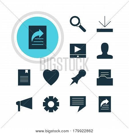 Vector Illustration Of 12 Web Icons. Editable Pack Of Gear, Document Directory, Magnifier And Other Elements.