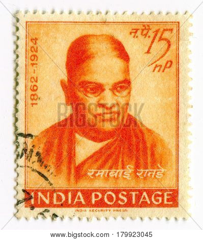 GOMEL, BELARUS, 1 APRIL 2017, Stamp printed in India shows image of the Ramabai Ranade was an Indian social worker and one of the first women's rights activists in the 19th century, circa 1962  .
