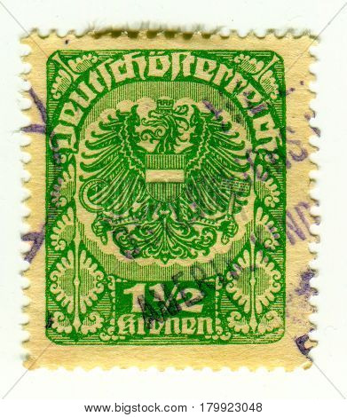 GOMEL, BELARUS, 30 MARCH 2017, Stamp printed in Austria shows image of the coat of arms of Austria, circa 1930