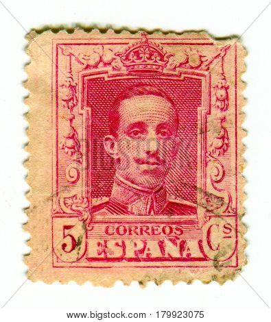GOMEL, BELARUS, 30 MARCH 2017, Stamp printed in Spain shows Alfonso XIII was King of Spain from 1886 until the proclamation of the Second Republic in 1931, circa 1930.