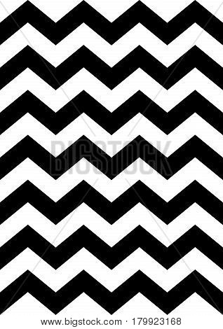Zig zag pattern, texture. Geometric vector background. Wave stripes. Black and white zigzag. A4 paper for poster, postcard, fabric textile, wrapping. Decorative scandinavian design