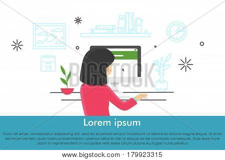 Young women at workplace. Modern cute vector illustration in flat style with lineart elements