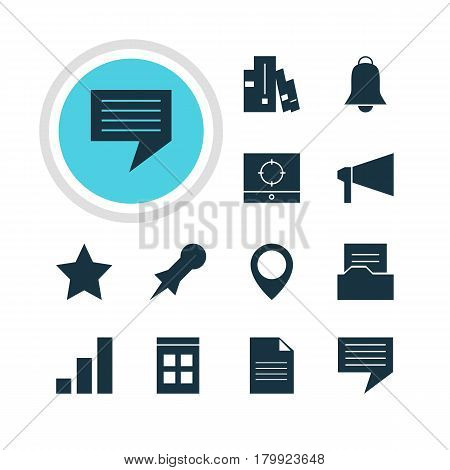 Vector Illustration Of 12 Online Icons. Editable Pack Of Thumbtack, Chat, Bookshelf And Other Elements.