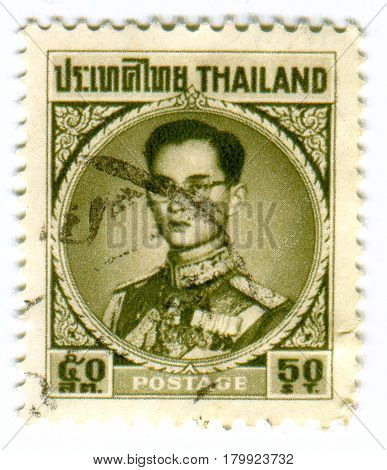 GOMEL, BELARUS, 2 APRIL 2017, Stamp printed in Thailand shows image of The Bhumibol Adulyadej, conferred with the title King Bhumibol the Great in 1987, was the ninth monarch of Thailand, circa 1959.