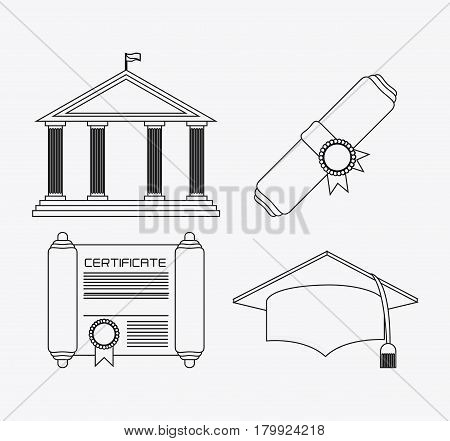 graduation cap diploma building graduate university grad icon. Silhouette and flat illustration. Vector graphic