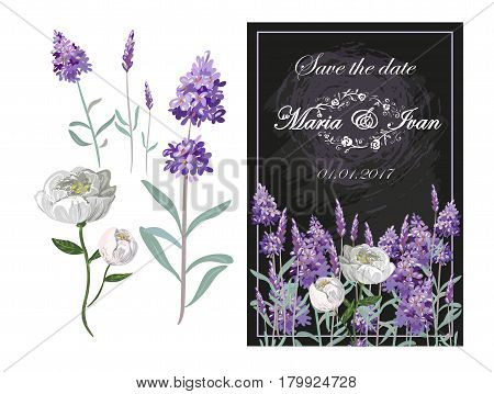 Invitation with lavender and peony on chalkboard vector with floral elements