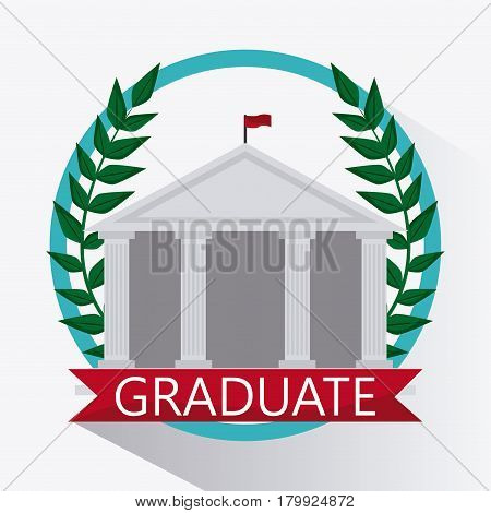 wreath building university grad icon. Colorfull and flat illustration. Vector graphic