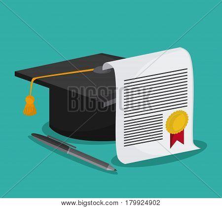 graduation cap diploma pen graduate university grad icon. Colorfull and flat illustration. Vector graphic