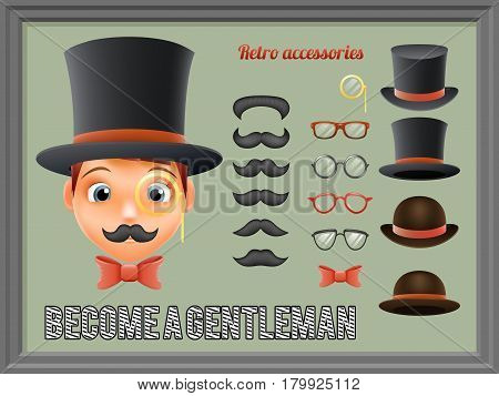 Mustache Bow Glasses Top Hat Gentleman Victorian Business Cartoon Icons Set English Isolated Background Retro Vintage Great Britain Design Vector Illustration
