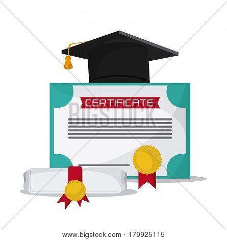 graduation cap diploma graduate university grad icon. Colorfull and flat illustration. Vector graphic