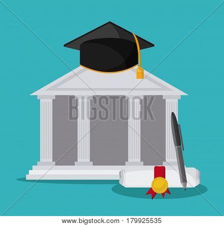 graduation cap diploma pen building graduate university grad icon. Colorfull and flat illustration. Vector graphic