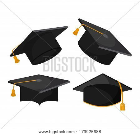 graduation cap graduate university grad icon. Colorfull and flat illustration. Vector graphic