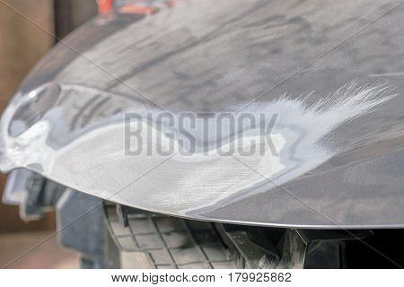 puttied car hood