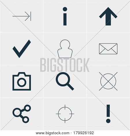 Vector Illustration Of 12 Interface Icons. Editable Pack Of Avatar, Top, Publish And Other Elements.