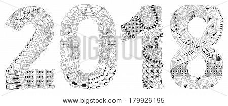 Hand-painted art design. Adult anti-stress coloring page. Black and white hand drawn illustration for coloring book. Number two thousand and eighteen zentangle object.