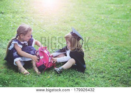 Cute Little Children With Pink School Bag
