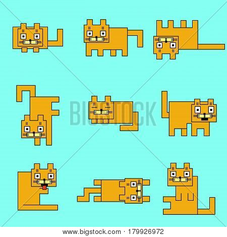Square orange cats on a blue background. Vector illustration. Funny cartoon flat cool character. Contour digital drawing cute geometric forms.