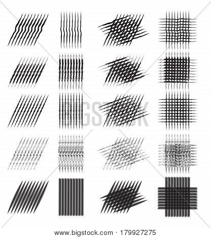Set of various pencil strokes halftone engraving. Vector element for your design