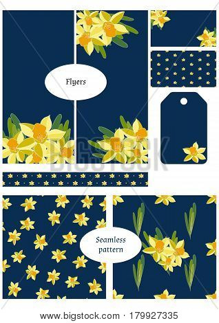 Double sided business card flyers tags wrapping border and two seamless patterns. Floral templates set collection. Daffodil flowers pattern and banners for florist business