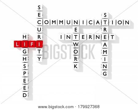 Crossword puzzle showing LIFI keywords as dice on a white board communication concept flat design 3D illustration