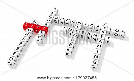 Crossword puzzle showing LIFI keywords as dice on a white board communication concept 3D illustration