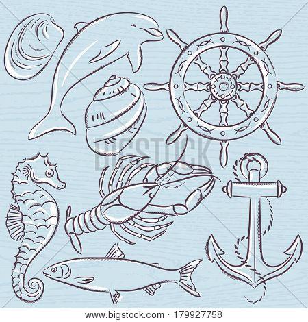 Set of summer symbols ship rudderanchor shells lobsterdolphin on a blue grunge background vector illustration.