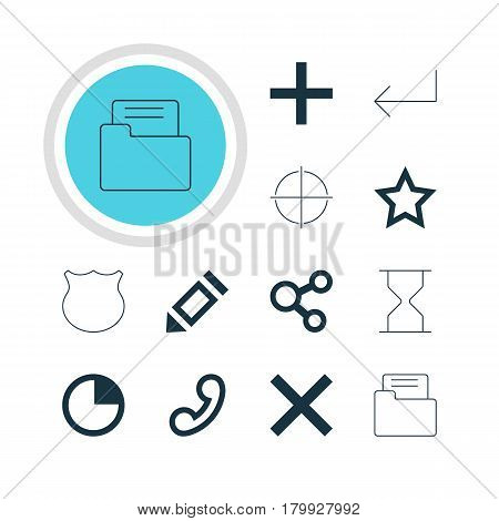 Vector Illustration Of 12 Member Icons. Editable Pack Of Guard, Asterisk, Hourglass And Other Elements.
