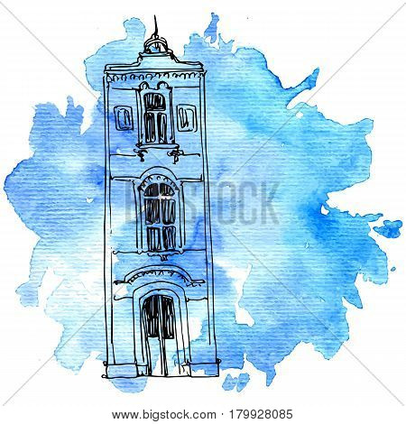 vector house, line drawing mansion at blue watercolor background, sketch of building, urban element