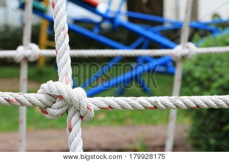 Climbing Net Close up with Playground Background