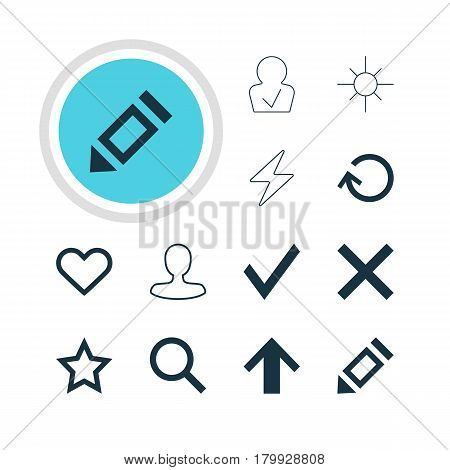 Vector Illustration Of 12 Member Icons. Editable Pack Of Asterisk, Seek, Confirm And Other Elements.