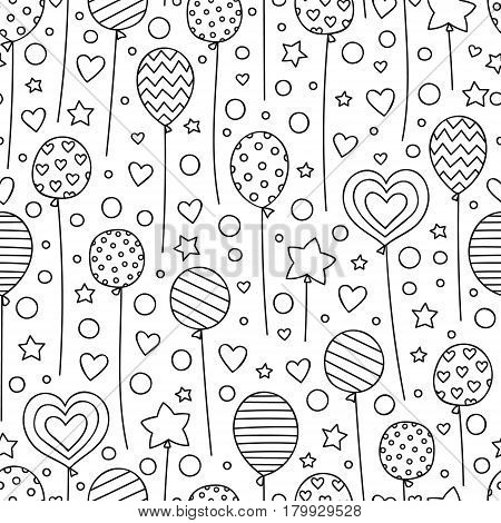 Party time! Vector seamless pattern with hand drawn balloons. Doodle elements - stars dots hearts balloons. Festive background for birthday party. Coloring page for coloring book.