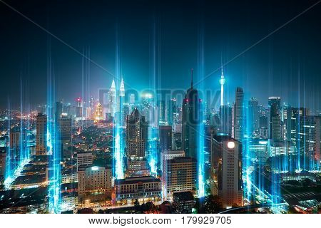 The network light came out from the ground modern city with wireless network connection concept abstract communication technology image visual .