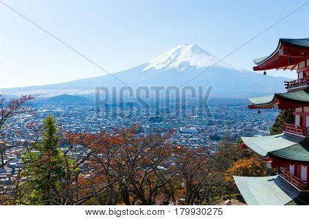 Chureito Pagoda and Mount Fuji