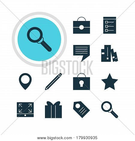 Vector Illustration Of 12 Online Icons. Editable Pack Of Magnifier, Coupon, Bookmark And Other Elements.