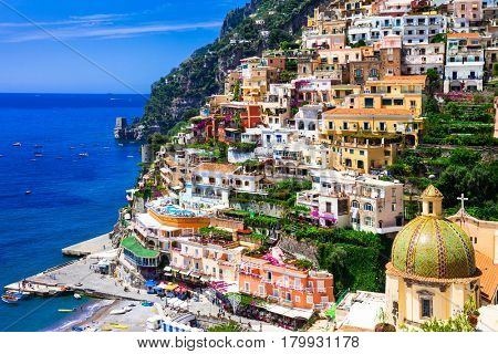 Beautiful colorful Positano town - scenic Amalfi coast of Italy