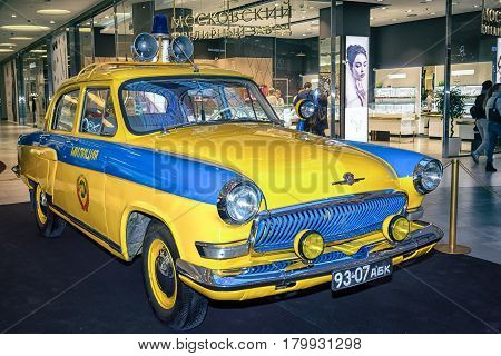 Moscow, Russia - April 02, 2017: Gaz-21 Volga, Soviet Union, 1969. Police Car. Retro Car Exibition I