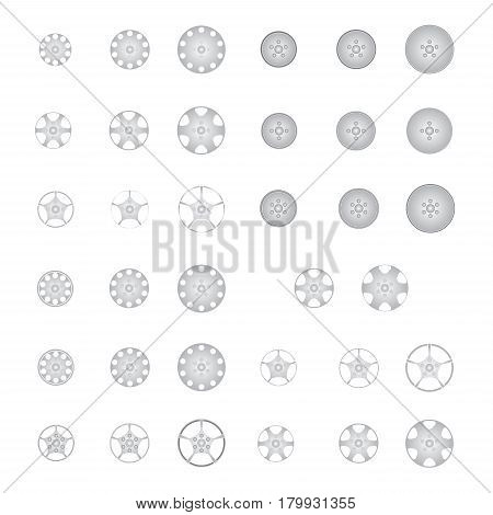 image of set of alloy wheel vector isolated on white