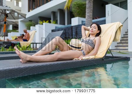 Woman enjoy sunbath