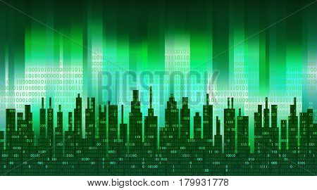 The digital city. Binary data in the cloud over an abstract skyline, green high-tech background. The concept of global networking technologies