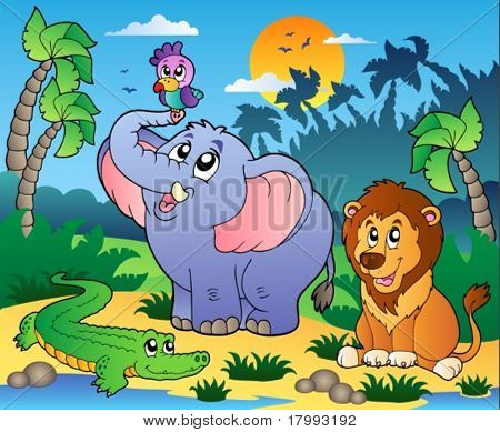 African scenery with animals 4 - vector illustration.
