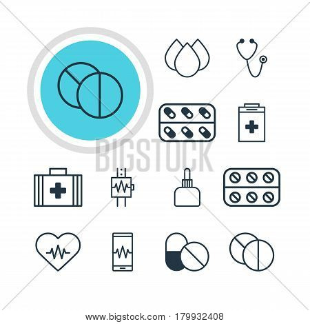 Vector Illustration Of 12 Medicine Icons. Editable Pack Of Heart Rhythm, Phone Monitor, Medical Bag And Other Elements.