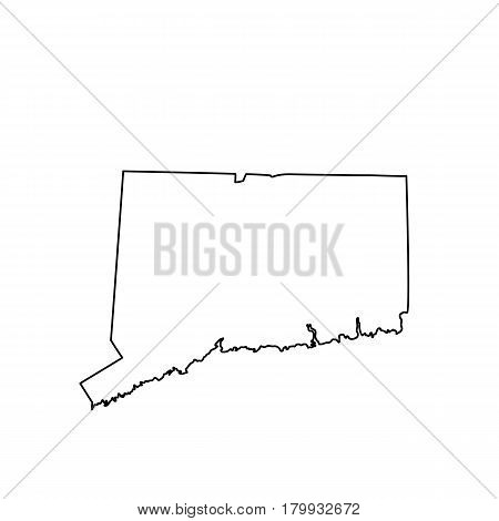 map of the U.S. state Connecticut. Vector illustration