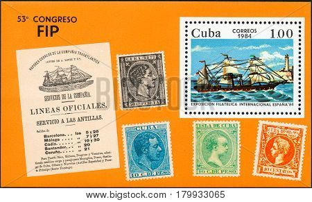 UKRAINE - CIRCA 2017: A postage stamp printed in Cuba shows shows old sailing ship with white sails from the series International philatelist exposition Espana 84 circa 1984