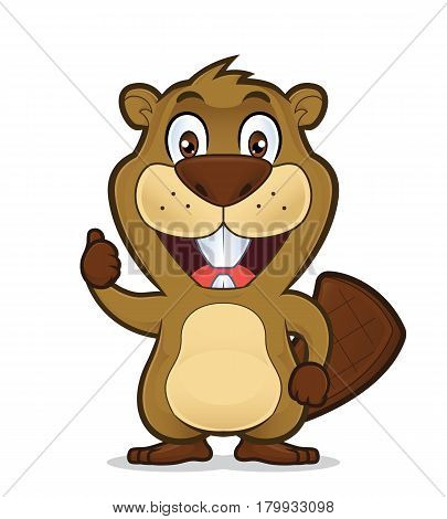 Clipart picture of a beaver cartoon character giving thumbs up poster