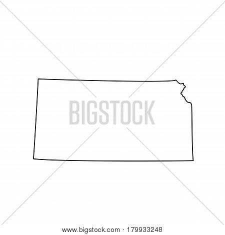U.S. state Kansas black map on white background. Vector illustration.
