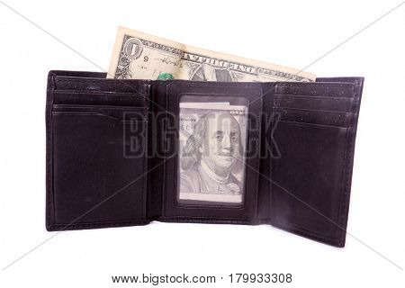 a well used black wallet or billfold with American money. isolated on white with room for your text.
